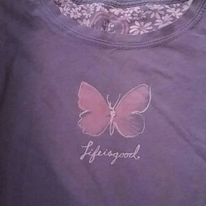 Life Is Good Tops - Life Is Good Original Purple Butterfly Shirt